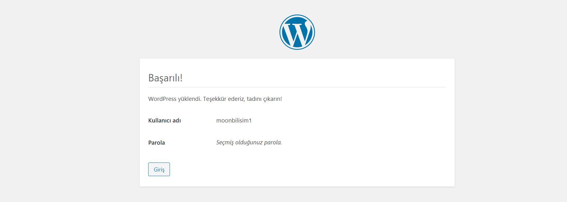 Wordpress Kurulumu tamamlandı.