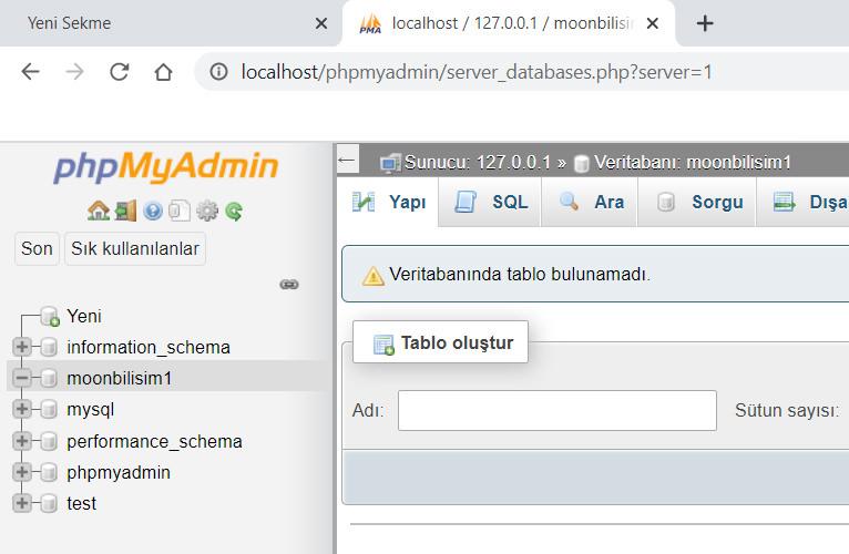 XAMPP MySQL veritabanı oluşturma